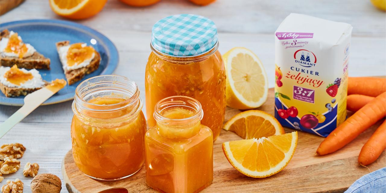Cukier żelujący 2:1 | Pomarańczowo-marchwiowa konfitura z imbirem i cynamonem
